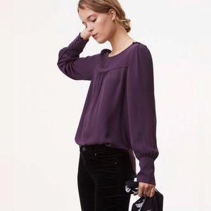 LOFT Buttoned Shoulder Long Sleeve Blouse